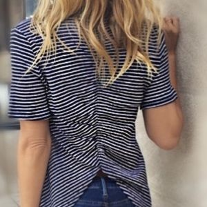 Olivaceous Striped Rouched Top Medium NEW